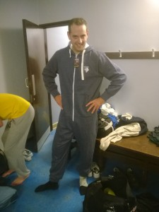 MOM Chris Dundon rocks the 'man of the match Watford FC onesie', donated by WFC, after the game
