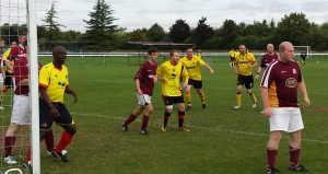 Moz Clarke, Rob Sterry, Ally Hill and Richard Wenham prepare to attack a corner